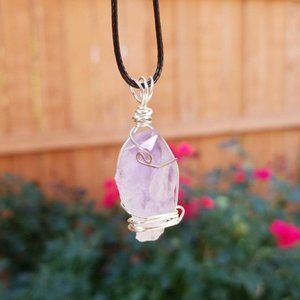 Raw Amethyst Healing Crystal Nugget Necklace